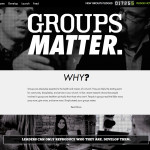 A screenshot of the GroupsMatter.com website with a counter showing how many groups have been started to date toward the 100,000 goal.