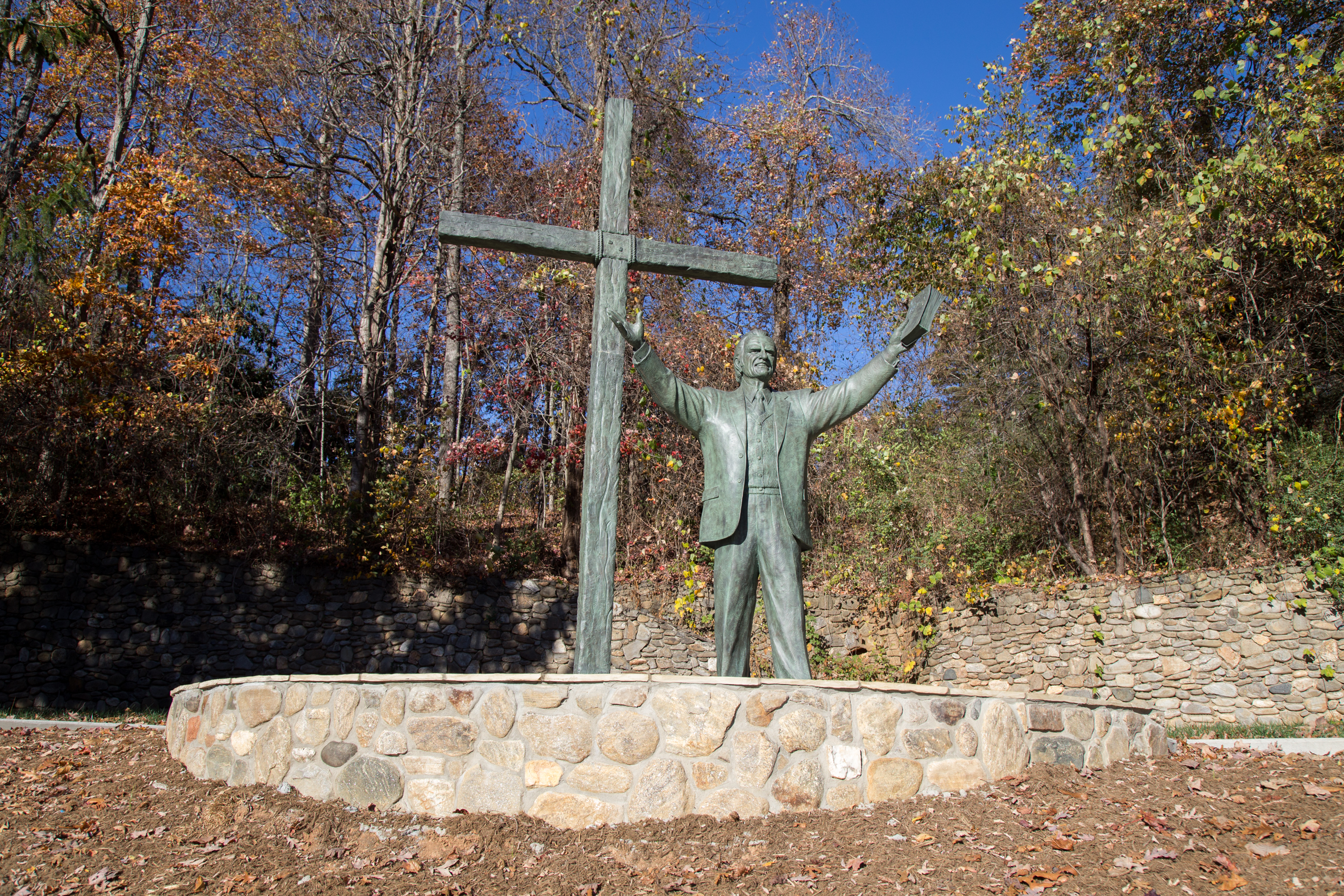 The Billy Graham statue at its new location at Ridgecrest Conference Center.